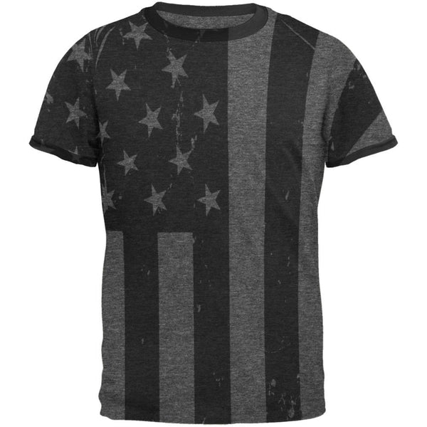 July 4th Black And White American Flag Mens Ringer T Shirt