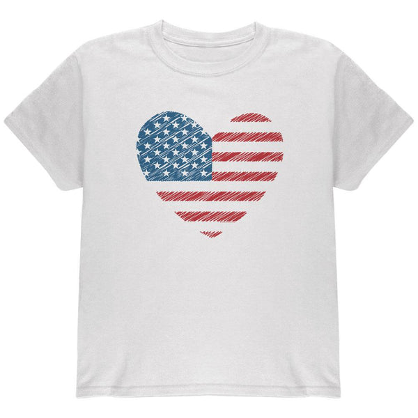 4th of July Scribble American Flag Heart Youth T Shirt