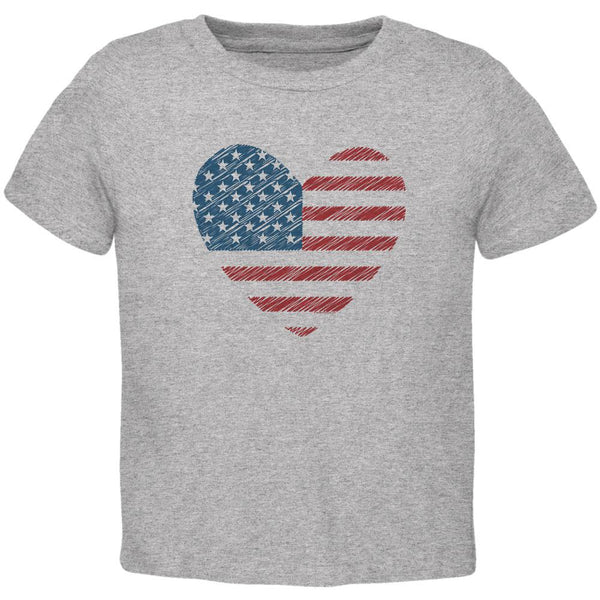 4th of July Scribble American Flag Heart Toddler T Shirt