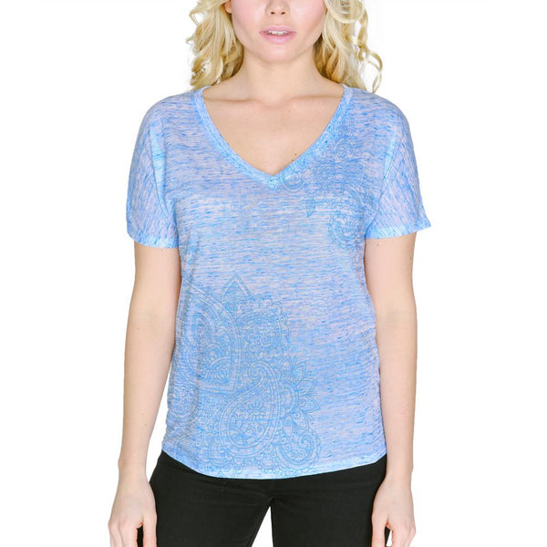 Blue Paisley Henna Ink Women's Slouchy V-Neck T Shirt