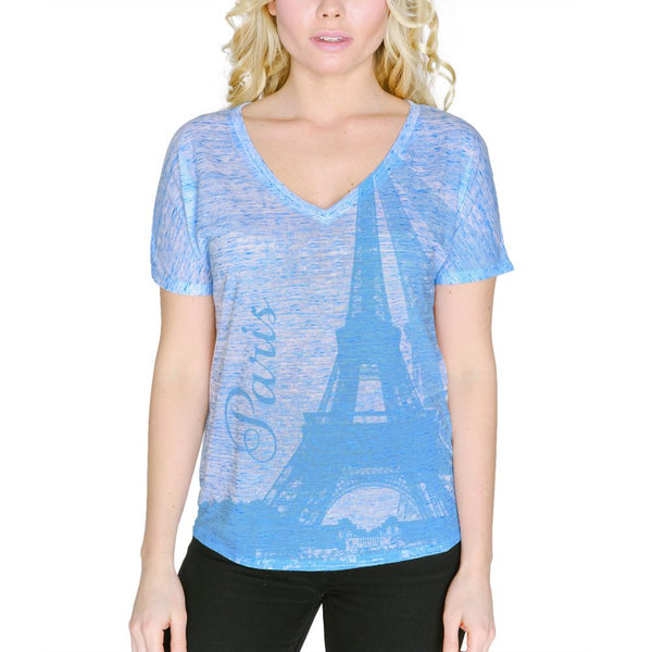 Paris Eiffel Tower Vacation France Women's Slouchy V-Neck T Shirt
