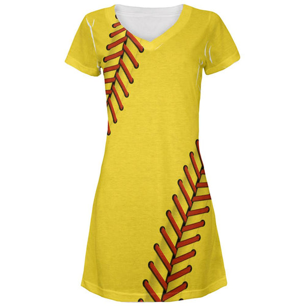 Softball Costume All Over Juniors Beach Cover-Up Dress