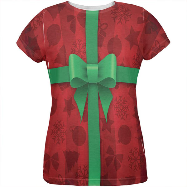 Red Christmas Present Costume All Over Womens T Shirt