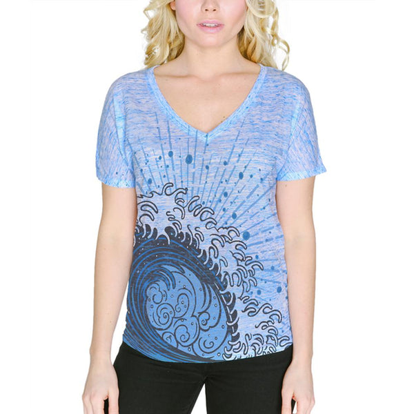 Summer Asian Wave Japanese Tsunami Women's Slouchy V-Neck T Shirt