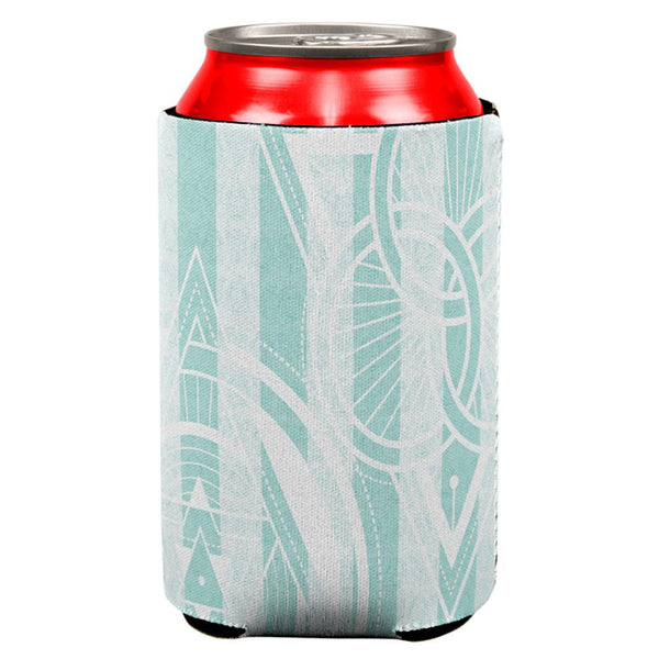 Summer Sacred Geometry Teal Stripes All Over Can Cooler