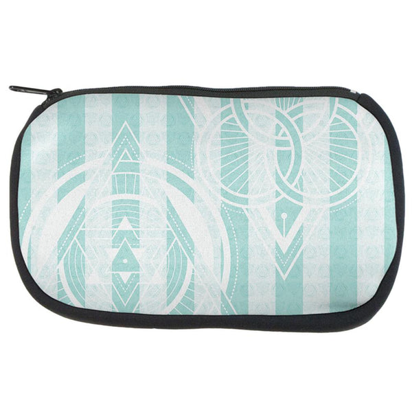 Summer Sacred Geometry Teal Stripes Makeup Bag