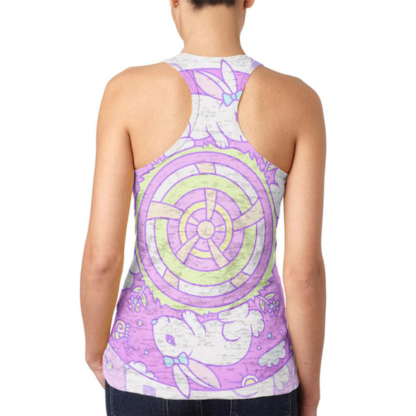 Trippy Easter Bunny Rabbit Mandala Vintage Juniors Burnout Racerback Tank Top