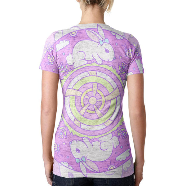 Trippy Easter Bunny Rabbit Mandala Vintage Juniors Burnout V-Neck T-Shirt