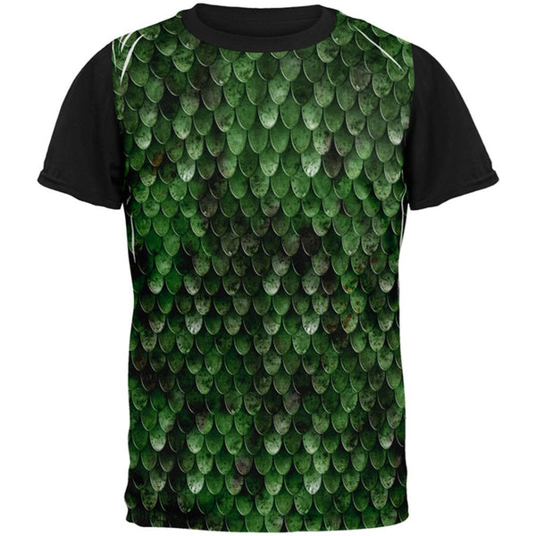 Halloween Wood Elf Scale Mail Armor Costume All Over Mens Black Back T Shirt