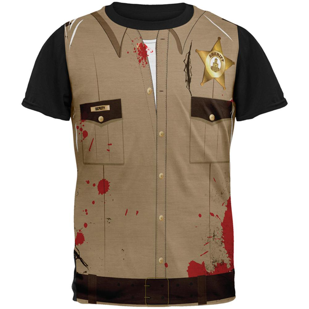 3bb2a77267 Halloween Zombie Grime Sheriff Walker All Over Mens Black Back T Shirt –  OldGlory.com
