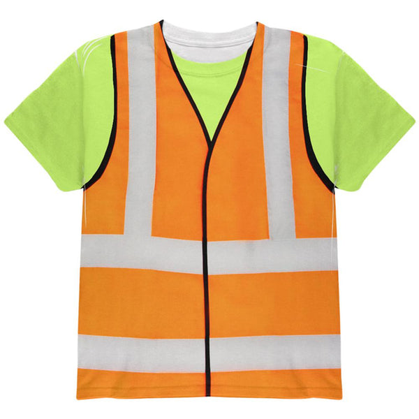 Halloween Road Worker Construction Vest Costume All Over Youth T Shirt