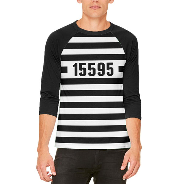Halloween Prisoner Old Time Striped Costume Mens Raglan T Shirt