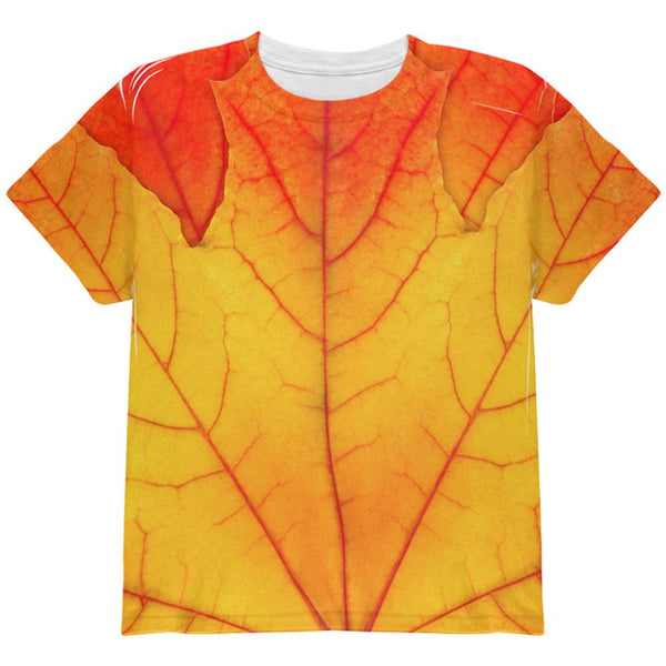 Halloween Autumn Fall Leaf Costume All Over Youth T Shirt