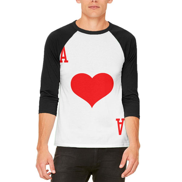 Halloween Ace of Hearts Card Soldier Costume Mens Raglan T Shirt