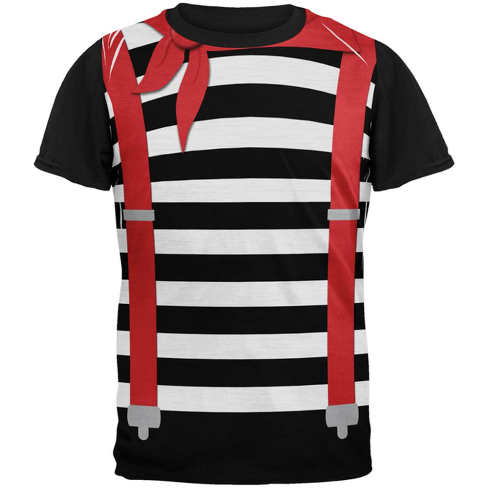70247d546c19 Halloween French Mime Costume All Over Mens Black Back T Shirt