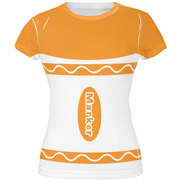 Halloween Marker Costume Orange All Over Juniors T Shirt