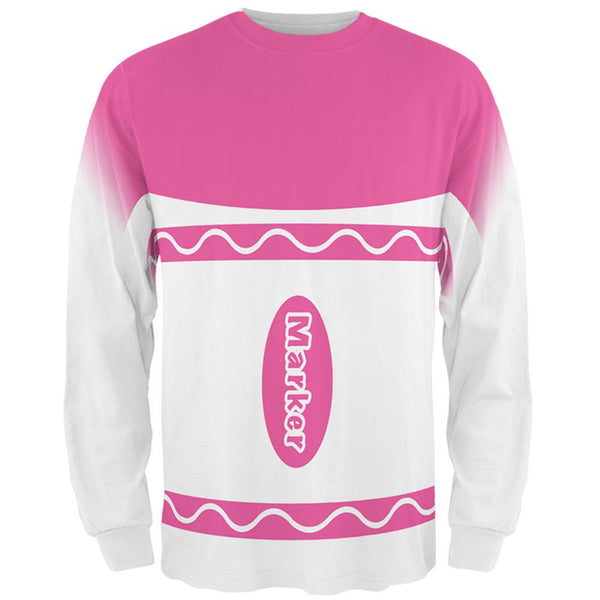Halloween Marker Costume Pink All Over Mens Long Sleeve T Shirt
