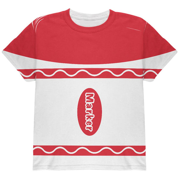 Halloween Marker Costume Red All Over Youth T Shirt