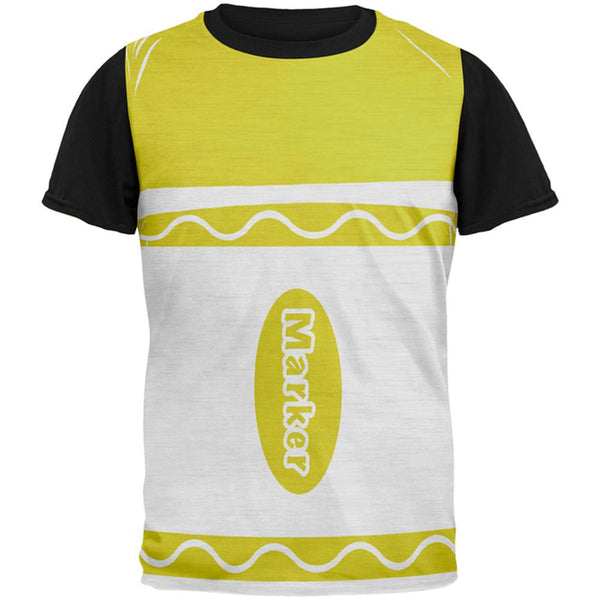 Halloween Marker Costume Yellow All Over Mens Black Back T Shirt