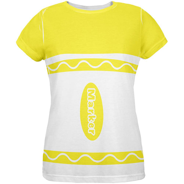 Halloween Marker Costume Yellow All Over Womens T Shirt