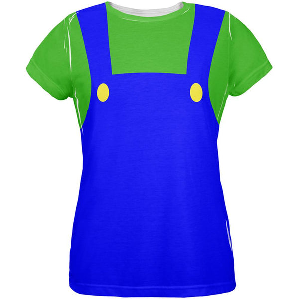 Halloween Italian Green Plumber Costume All Over Womens T Shirt