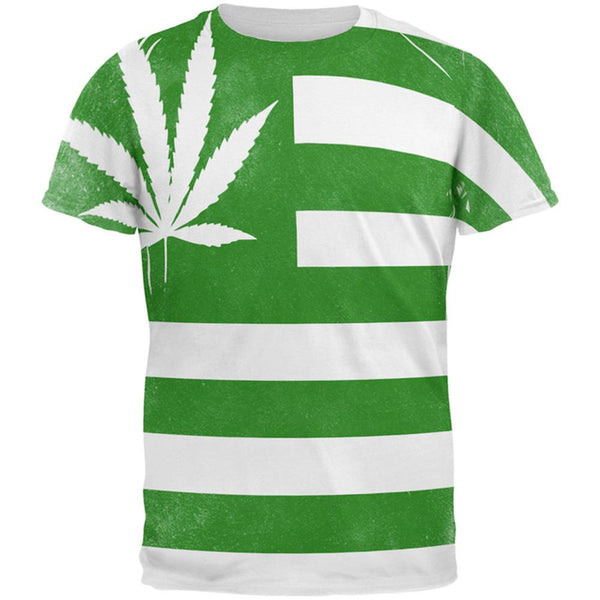 American High Pot Leaf Flag All Over Mens T Shirt