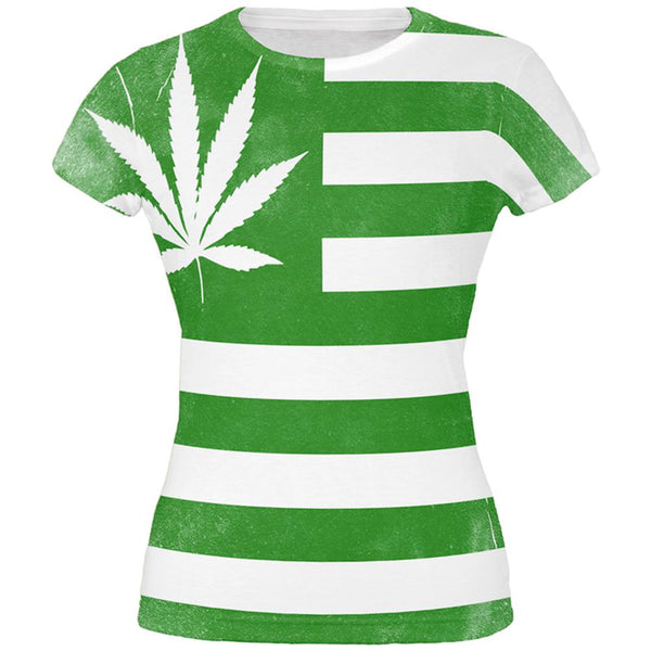 American High Pot Leaf Flag All Over Juniors T Shirt