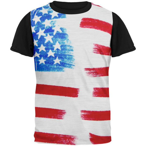 4th of July Color Me American All Over Mens Black Back T Shirt