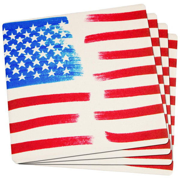 4th of July Color Me American Set of 4 Square Sandstone Coasters