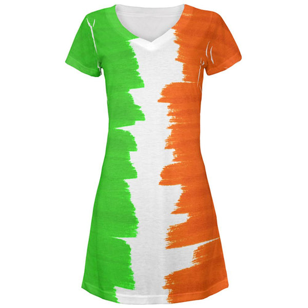 St Patrick's Day Color Me Irish All Over Juniors Beach Cover-Up Dress