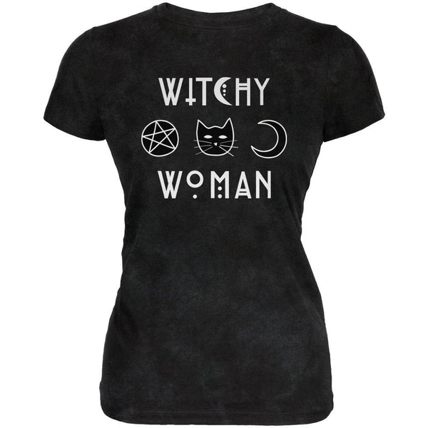 Witchy Woman Cat Star Moon Juniors Premium Soft T Shirt
