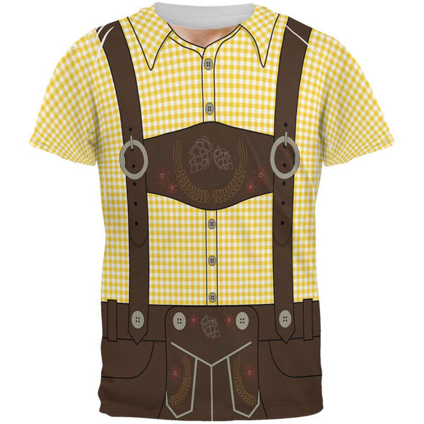 Oktoberfest Lederhosen Costume German Brown Suspenders All Over Mens T Shirt