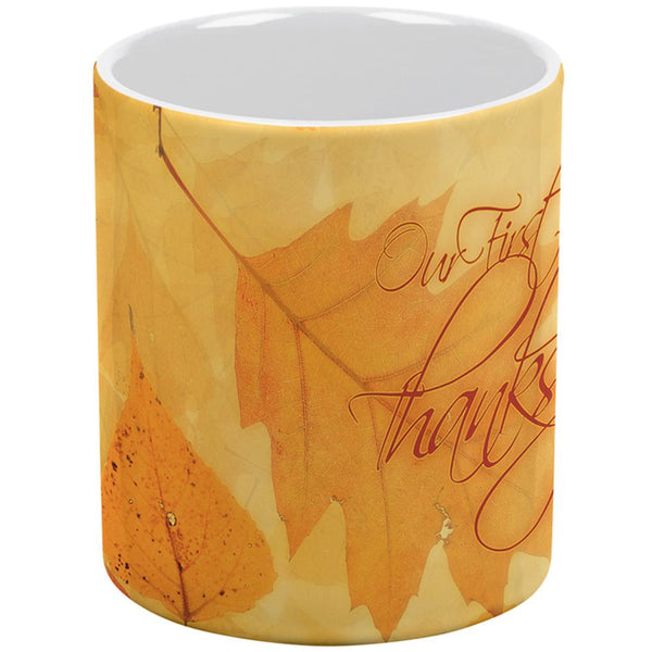 Our First Thanksgiving Autumn Leaves All Over Coffee Mug