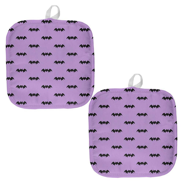 Halloween Bats Pattern All Over Pot Holder (Set of 2)