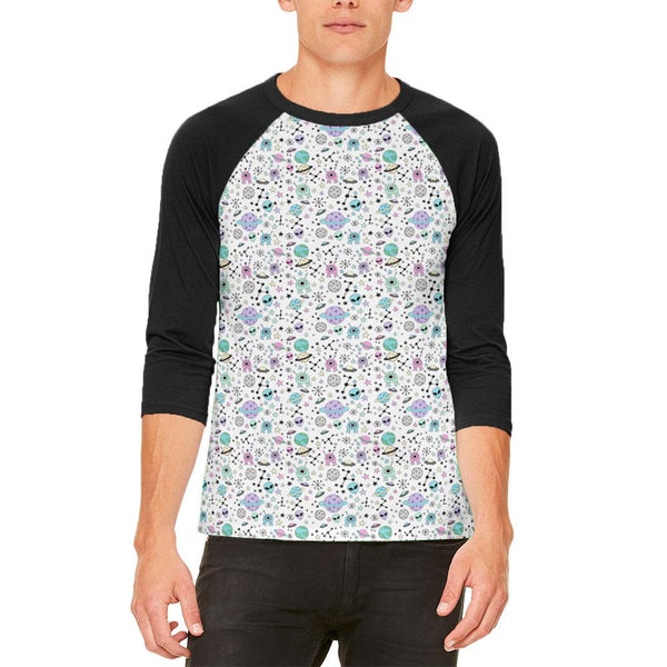 Outer Space Aliens Pattern Mens Raglan T Shirt