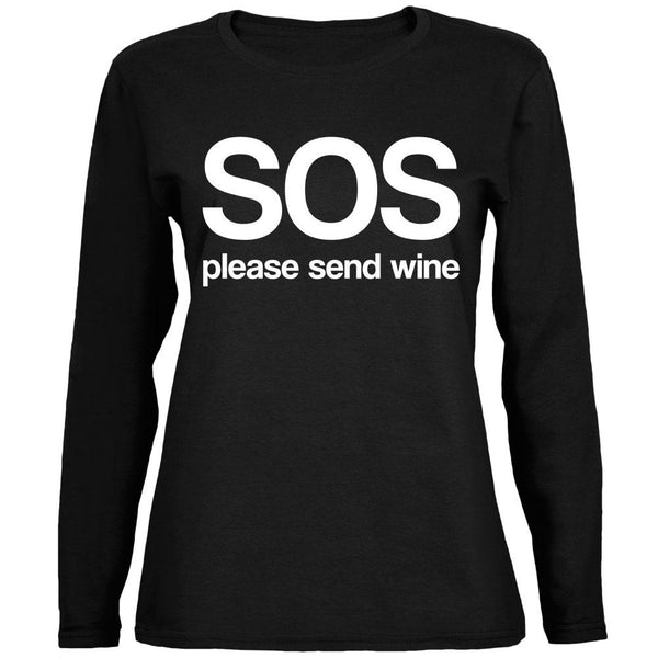 SOS Please Send Wine Ladies' Relaxed Jersey Long-Sleeve Tee