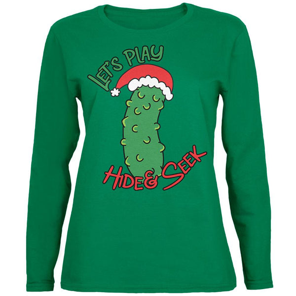 Christmas Pickle Hide And Seek Funny Womens Long Sleeve T Shirt