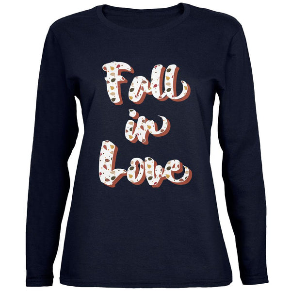 Autumn Fall in Love Leaves Pattern Womens Long Sleeve T Shirt
