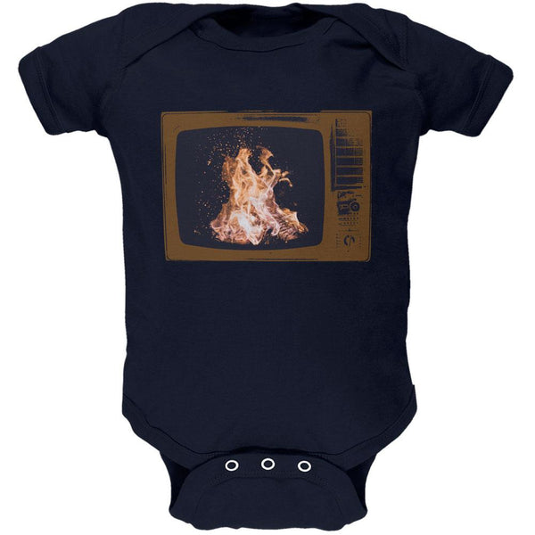 Autumn Funny Faux Fireplace Television Soft Baby One Piece