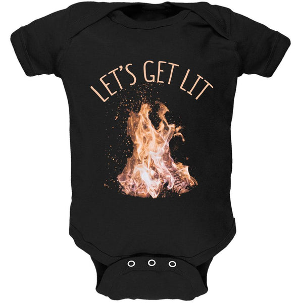 Autumn Let's Get Lit Bonfire Pun Soft Baby One Piece