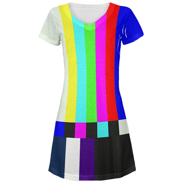 Halloween SMPTE Color Bars Late Night TV Costume All Over Juniors V-Neck Dress
