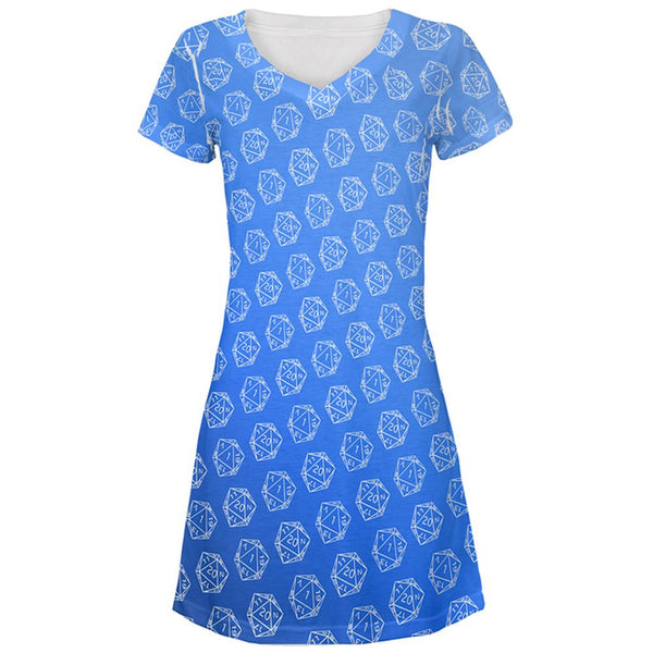 D20 Gamer Critical Hit and Fumble Blue Pattern All Over Juniors Beach Cover-Up Dress