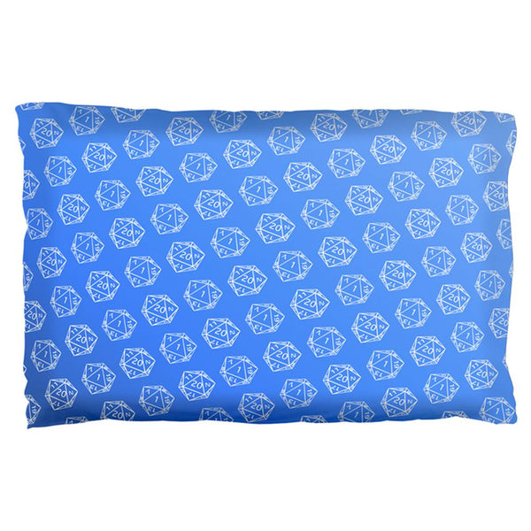 D20 Gamer Critical Hit and Fumble Blue Pattern Pillow Case