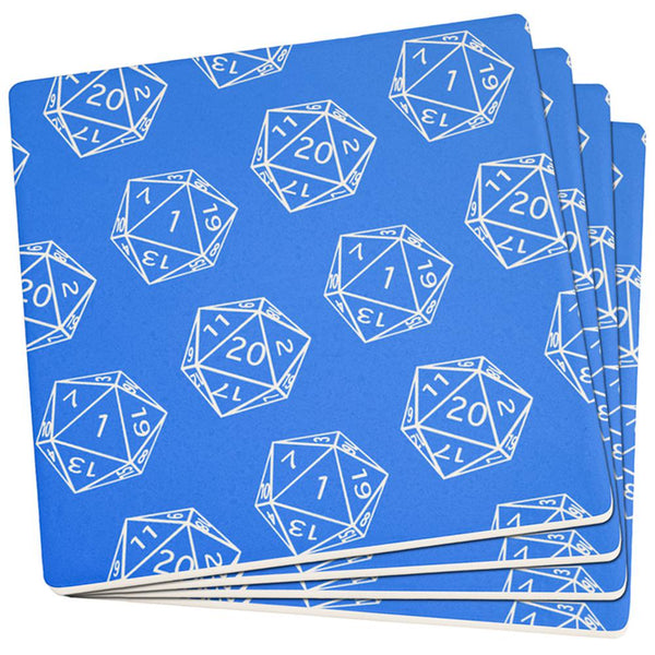 D20 Gamer Critical Hit and Fumble Blue Pattern Set of 4 Square Sandstone Coasters