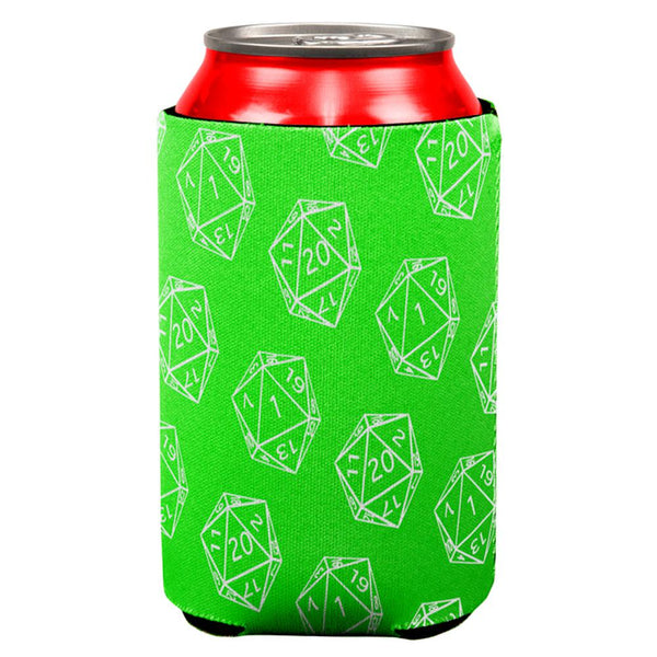 D20 Gamer Critical Hit and Fumble Green Pattern All Over Can Cooler