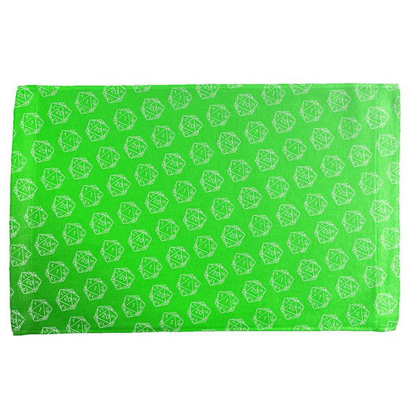 D20 Gamer Critical Hit and Fumble Green Pattern All Over Hand Towel
