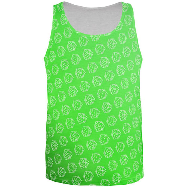 D20 Gamer Critical Hit and Fumble Green Pattern All Over Mens Tank Top