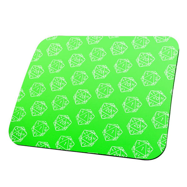 D20 Gamer Critical Hit and Fumble Green Pattern All Over Mouse Pad