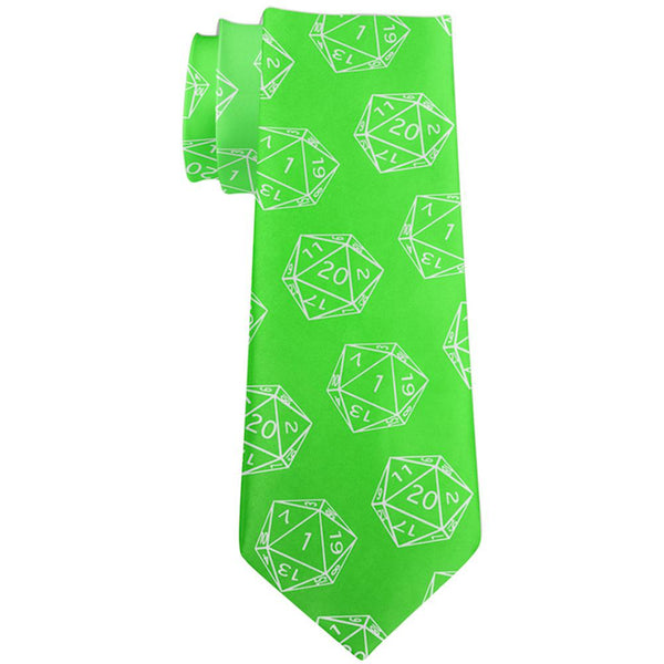 D20 Gamer Critical Hit and Fumble Green Pattern All Over Neck Tie