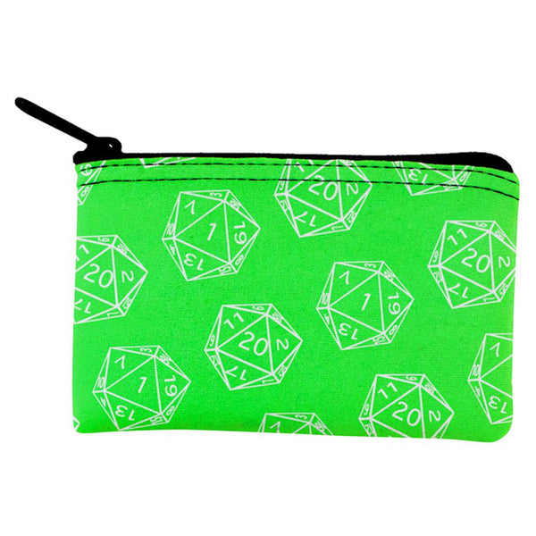D20 Gamer Critical Hit and Fumble Green Pattern Dice Pouch